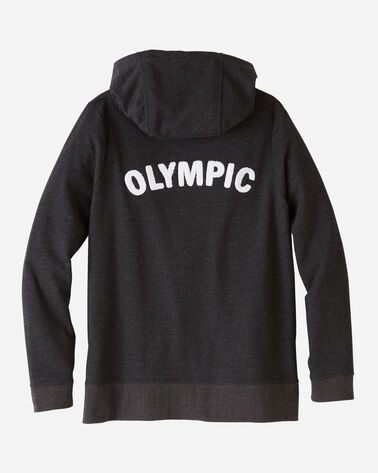 BACK VIEW OF WOMEN'S ANORAK HOODIE IN OLYMPIC PARK CHARCOAL
