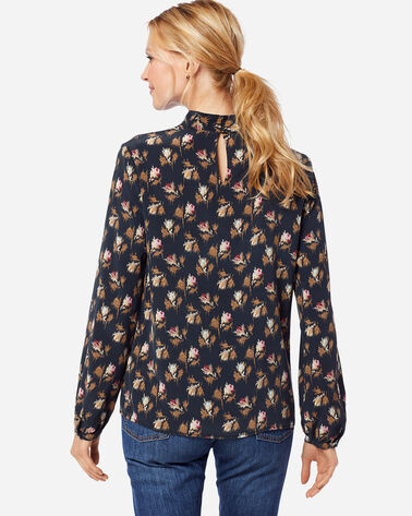 ADDITIONAL VIEW OF WOMEN'S SUEDED SILK MOCKNECK TOP IN NAVY ROSE CITY FLORAL