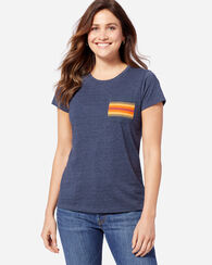 WOMEN'S NATIONAL PARK POCKET TEE, NAVY HEATHER, large