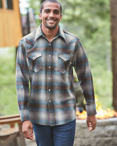 FITTED SNAP-FRONT CANYON SHIRT, GREY/TEAL OMBRE, large
