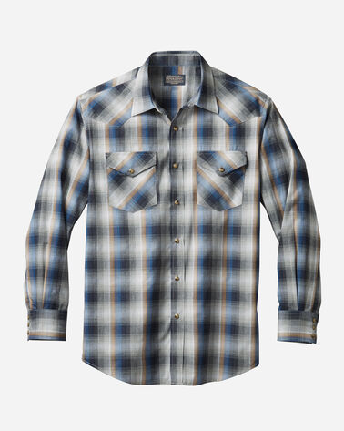 MEN'S LONG-SLEEVE FRONTIER SHIRT IN GREY/BLUE PLAID