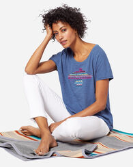 WOMEN'S EMBROIDERED EAGLE TEE, LAKE BLUE, large