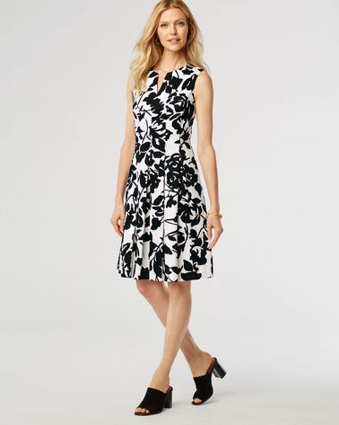 WHITNEY FLORAL DRESS, BLACK/WHITE, large