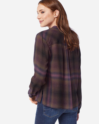 ADDITIONAL VIEW OF WOMEN'S HELENA MANDARIN COLLAR SHIRT IN BERRY/FOREST PLAID