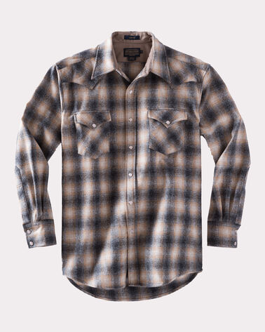 FITTED SNAP-FRONT CANYON SHIRT, OXFORD GREY/TAN OMBRE, large