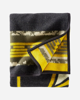 ALTERNATE VIEW OF COURAGE AND COUNTRY BLANKET IN CHARCOAL