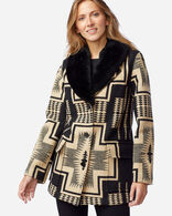 WOMEN'S WAHKEENA SHEARLING BLANKET COAT IN BLACK/TAN HARDING