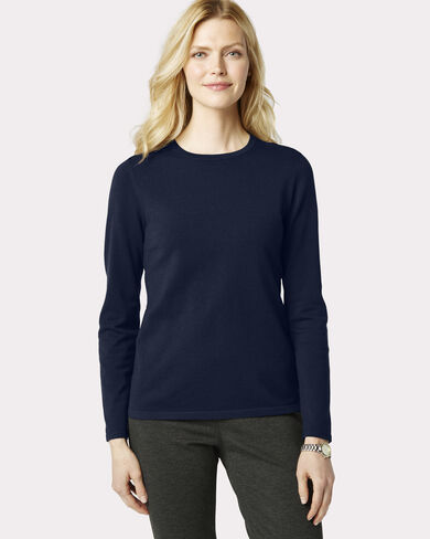 WASHABLE SILK-BLEND JEWEL-NECK PULLOVER, , large