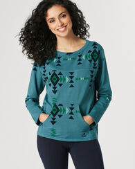 CROP FLEECE PULLOVER, TURQUOISE, large