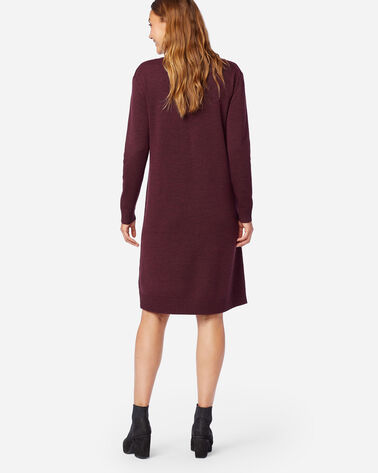 ALTERNATE VIEW OF MERINO SWEATER DRESS IN RUSTIC PLUM HEATHER