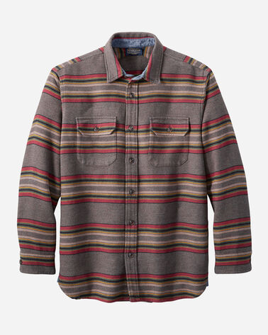 MEN'S DOUBLESOFT FLANNEL DRIFTWOOD SHIRT IN MINERAL UMBER STRIPE