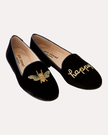 BEE HAPPY EMBROIDERED VELVET FLATS, BLACK, large