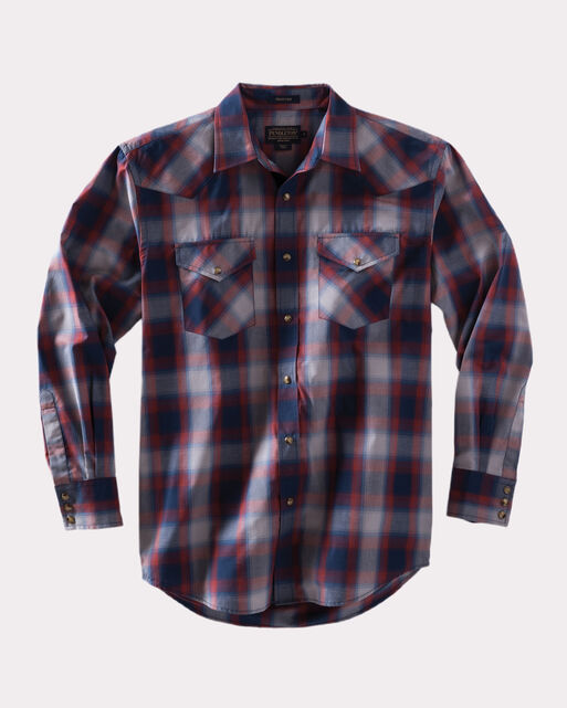 LONG-SLEEVE FRONTIER SHIRT, NAVY/RED/GREY PLAID, large