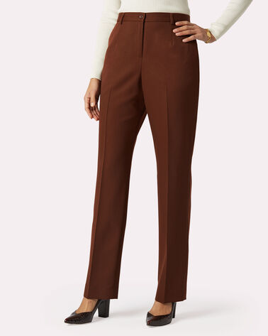 SEASONLESS WOOL TRUE FIT TROUSERS, BROWN, large