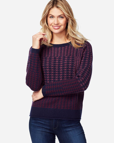 PLAID LAMBSWOOL PULLOVER, WINE, large