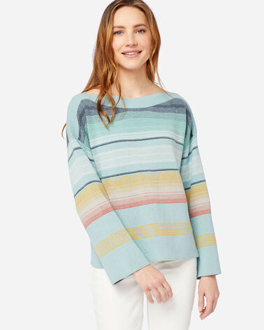 ALTERNATE VIEW OF WOMEN'S HORIZON COTTON STRIPE SWEATER IN DUSTY AQUA/NAVY