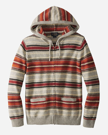 MEN'S SERAPE STRIPE HOODED SWEATER, COPPER/GREY, large