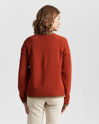 ALTERNATE VIEW OF WOMEN'S TIPPED COTTON SWEATER IN PERSIMMON RED