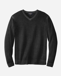 MERINO MAGIC-WASH V-NECK PULLOVER, CHARCOAL, large