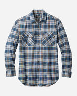BURNSIDE DOUBLE-BRUSHED FLANNEL SHIRT IN NAVY/TAN PLAID