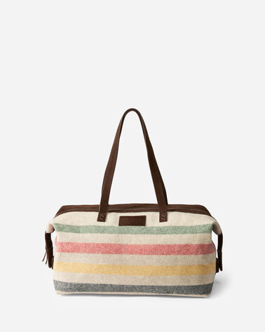 GLACIER STRIPE WOOL WEEKENDER BAG IN IVORY