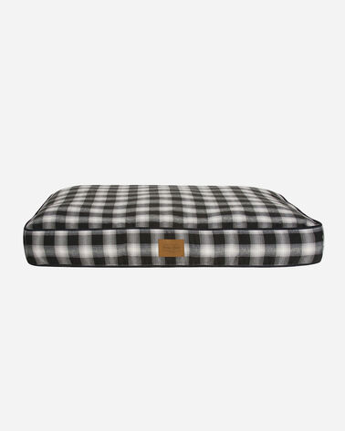 CHARCOAL OMBRE PLAID DOG BED IN SIZE MEDIUM