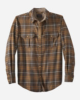 MEN'S UTILITY SNAP FRONT SHIRT IN TAN/CHARCOAL PLAID