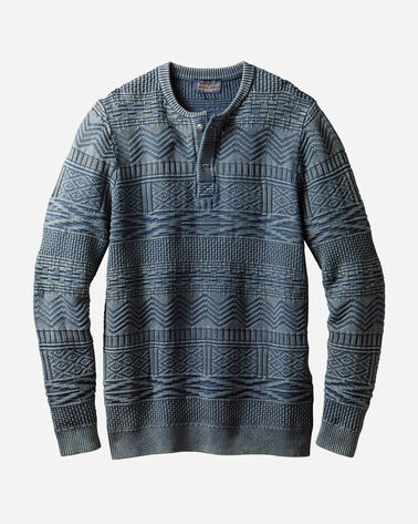 MEN'S JACQUARD HENLEY SWEATER