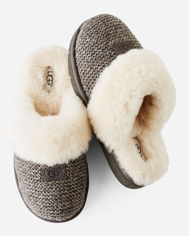 COZY KNIT SHEEPSKIN-LINED SCUFF SLIPPERS, CHARCOAL, large