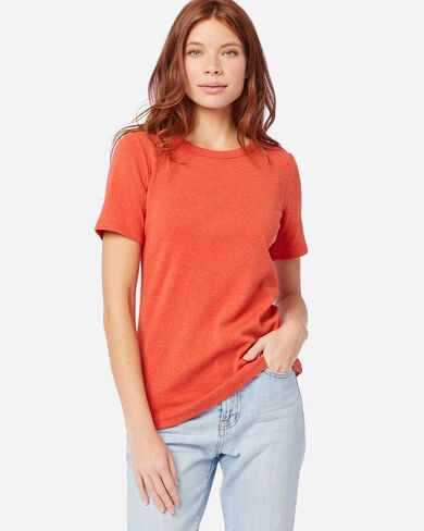 WOMEN'S SHORT-SLEEVE COTTON RIBBED TEE IN CHILI HEATHER