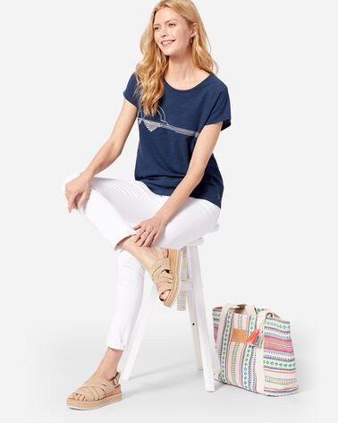 WOMEN'S EMBROIDERED SURF TEE, NAVY, large
