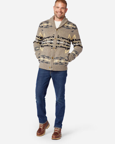 MEN'S PLAINS STAR SHETLAND CARDIGAN IN GREY/TAN