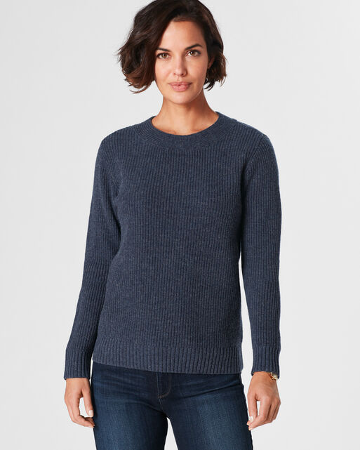 RIBBED LAMBSWOOL PULLOVER, , large