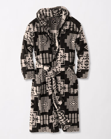 JACQUARD COTTON TERRY ROBE, BLACK, large