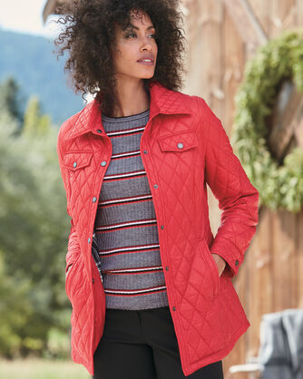 QUILTED SHIRT JACKET, RED, large