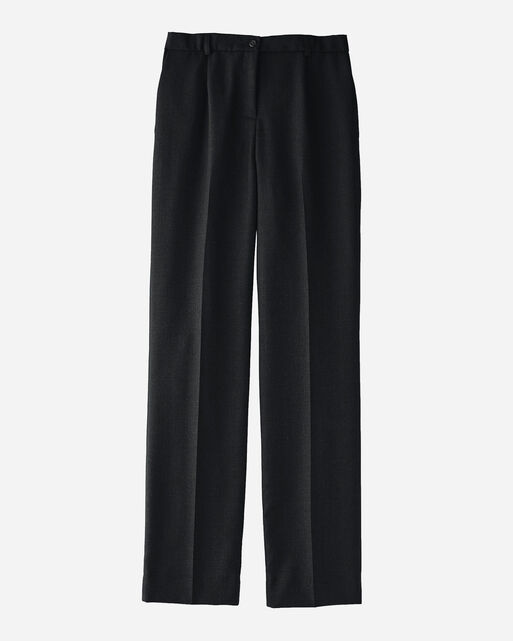WORSTED WOOL FLANNEL TRUE FIT TROUSERS IN BLACK