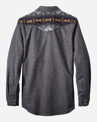 ALTERNATE VIEW OF FITTED PIECED JACQUARD CANYON SHIRT IN OXFORD GREY MIX