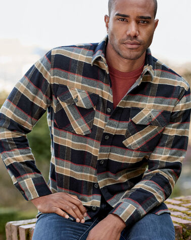 ADDITIONAL VIEW OF BURNSIDE DOUBLE-BRUSHED FLANNEL SHIRT IN BLACK/TAN PLAID