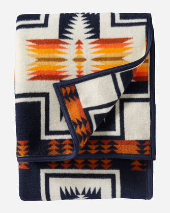 ALTERNATE VIEW OF HARDING JACQUARD BLANKET IN NAVY