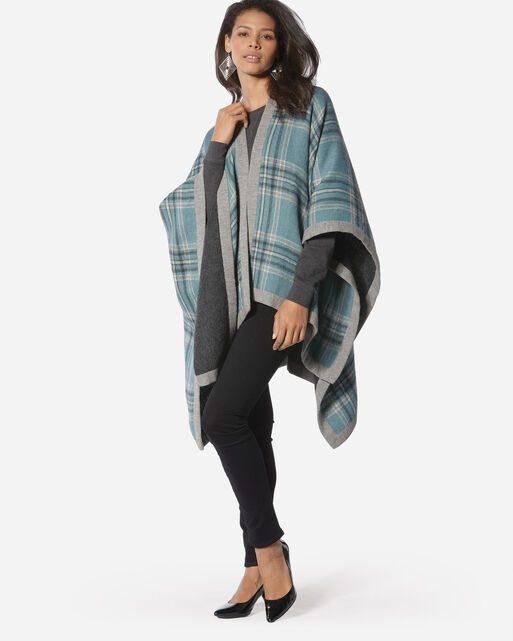 REVERSIBLE ALPACA SHAWL, GREY PLAID, large