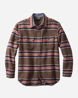 BLANKET STRIPE COTTON FLANNEL SHIRT IN BROWN HEATHER