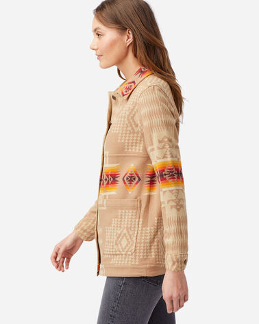 ALTERNATE VIEW OF WOMEN'S JACQUARD BARN JACKET IN TAN CHIEF JOSEPH