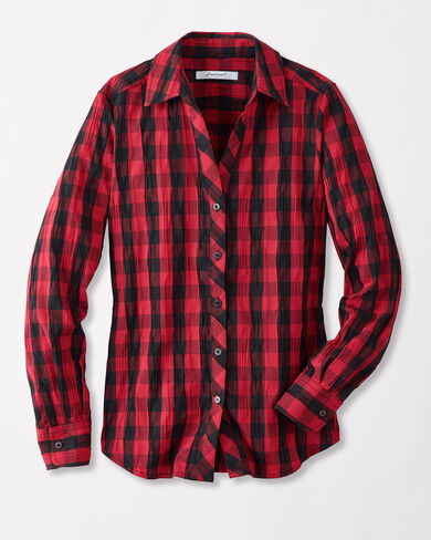 MARY CRINKLE PLAID SHIRT, SCARLET/BLACK CHECK, large