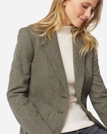 WOMEN'S BRYNN PATCH POCKET WOOL BLAZER IN OLIVE/BEIGE HERRINGBONE