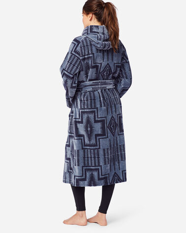 ALTERNATE VIEW OF WOMEN'S JACQUARD TERRY ROBE IN DUSK BLUE HARDING