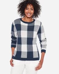 BLOCK PLAID PULLOVER