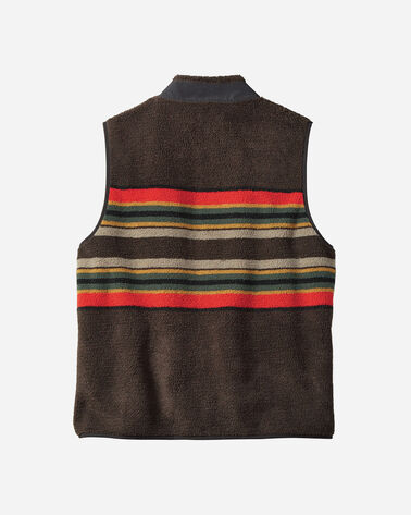 ADDITIONAL VIEW OF MEN'S CAMP STRIPE FLEECE VEST IN BROWN