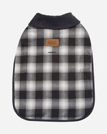SMALL PLAID DOG COAT IN CHARCOAL OMBRE