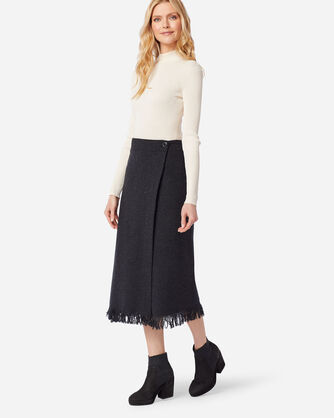 FRINGED WOOL WRAP SKIRT IN BLACK MIX