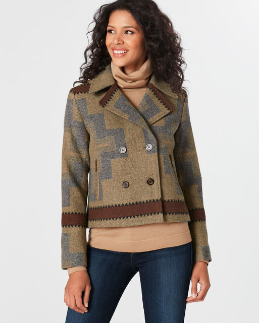DOUBLE-BREASTED SHORTY JACQUARD JACKET